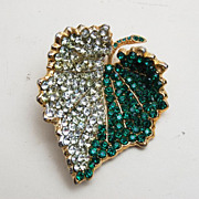 SALE Hattie Carnegie Green Rhinestone Leaf Brooch