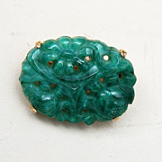 Marvella Molded Glass Oriental Brooch