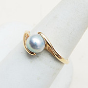 SALE 14kt Gold Ring With Real Gray Pearl size 9