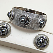 SALE Whiting and Davis Silvertone and Hematite Bracelet and Earrings Set