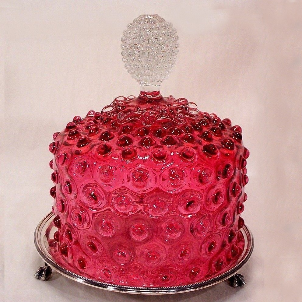 Cranberry Hobnail Glass Cheese Dome w/ Silver Plate Base