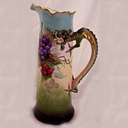 Vintage 1909 JP Limoges Dragon Handle Tankard Hand Painted Grapes