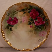 T&V Limoges Charger Hand Painted Roses