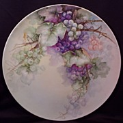 SALE Stunning T&V Limoges Charger Serving Tray Plaque Hand Painted Grapes