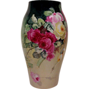 SALE T & V Limoges Vase Decorated with Hand Painted Roses