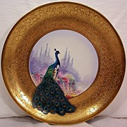 SALE Vintage Pichard Plate Plaque Decorated with Hand Painted Peacock