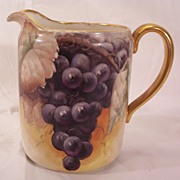 Vintage Willets Belleek Pitcher Hand Painted Grapes