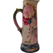 SALE Vintage Limoges Tankard Decorated with Hand Painted Roses