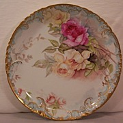 Haviland Limoges Charger Decorated with Hand Painted Roses