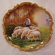 SALE Vintage Limoges Plaque Charger Hand Painted Shepard and Sheep