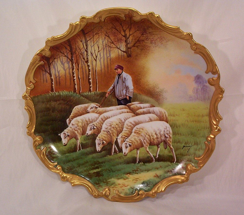Vintage Limoges Plaque Charger Hand Painted Shepard and Sheep