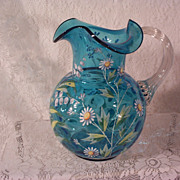 Vintage Victorian Blue Enamel Water Pitcher Inverted Thumbprint