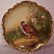 Vintage Limoges Game Charger Plaque Hand Painted Bird