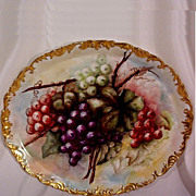 Early 1900's T & V Limoges Charger Plaque Hand Painted Grapes