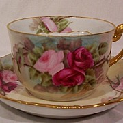 SALE T&V Limoges Mustache Cup and Saucer Hand Painted Roses