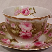 SALE Vintage Limoges Mustache Cup and Saucer with Roses
