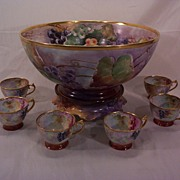 T&V Limoges Punch Bowl & Six Cups Hand Painted Grapes