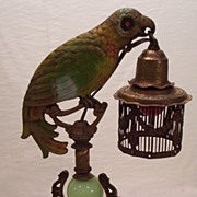 SOLD Fabulous Vintage Newel Post Cast Parrot Lamp