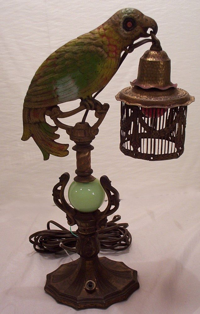 Fabulous Vintage Newel Post Cast Parrot Lamp