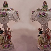 SOLD Fabulous Pair Dresden Lithopane Porcelain Lamps