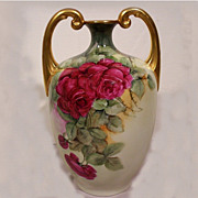 SALE JP Limoges Double Handled Vase w/ Hand Painted Roses