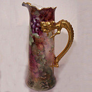 SALE JP Limoges Dragon Handle Tankard with Hand Painted Grapes