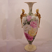 Fabulous American  Belleek Trumpet Vase Hand Painted Mums