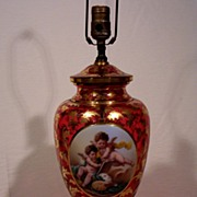 Moser Cranberry Table Lamp Porcelain Hand Painted Cherubs
