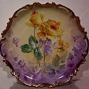 SALE Fabulous Limoges Charger Decorated with Hand Painted Roses