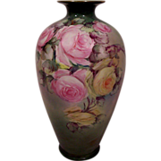 SALE Fabulous Belleek Vase Decorated with Hand Painted Roses