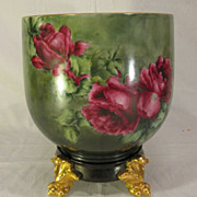 SALE Huge Vintage Limoges Jardiniere Planter Pot with Roses