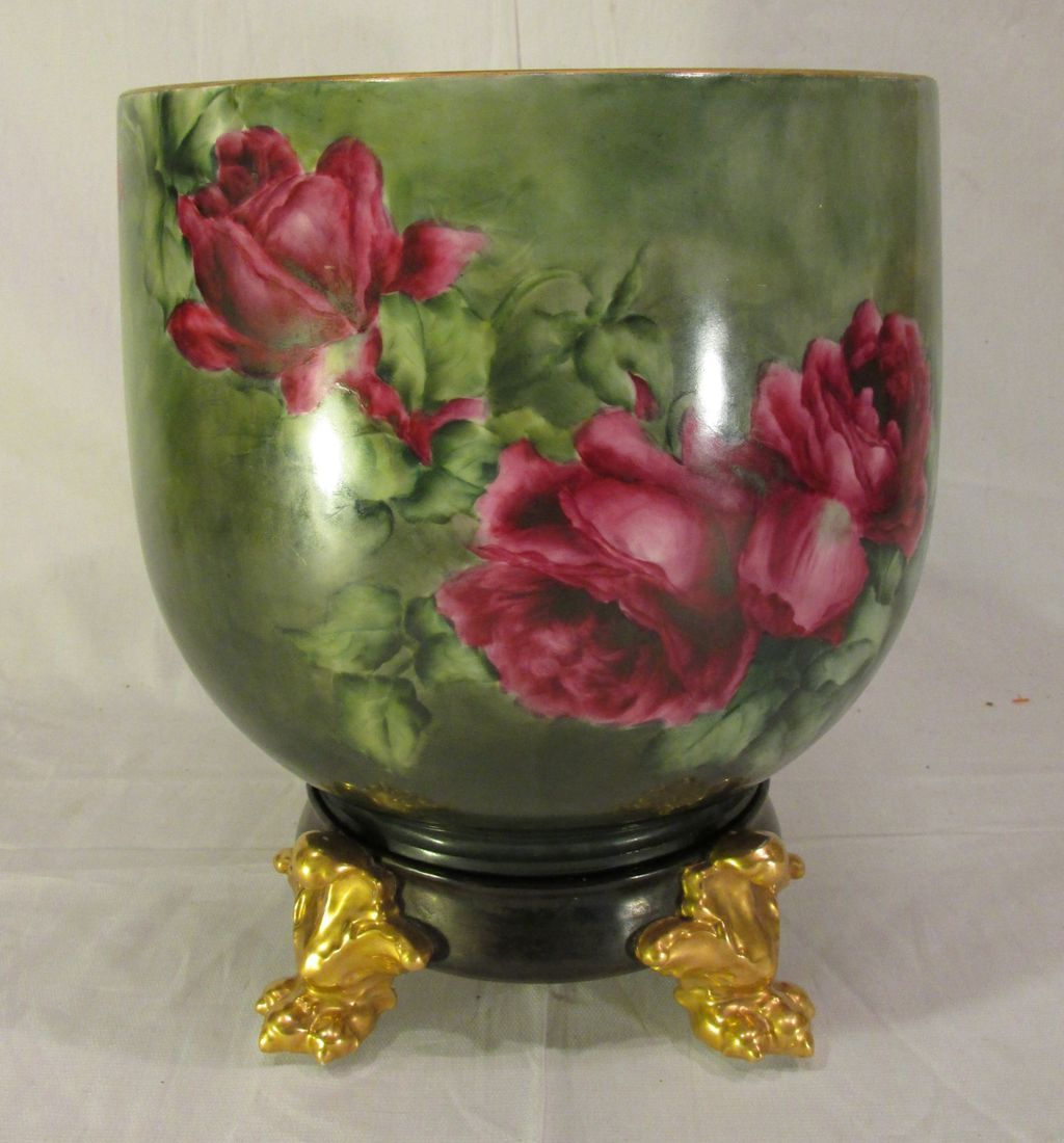 Huge Vintage Limoges Jardiniere Planter Pot with Roses