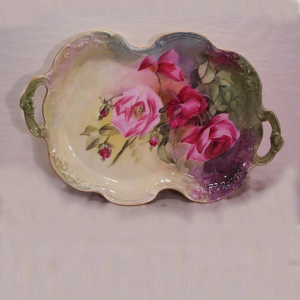 Vintage JP Limoges Dresser Tray Decorated with Hand Painted Roses