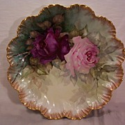 SALE Vintage Limoges Charger Plaque with Hand Painted Roses