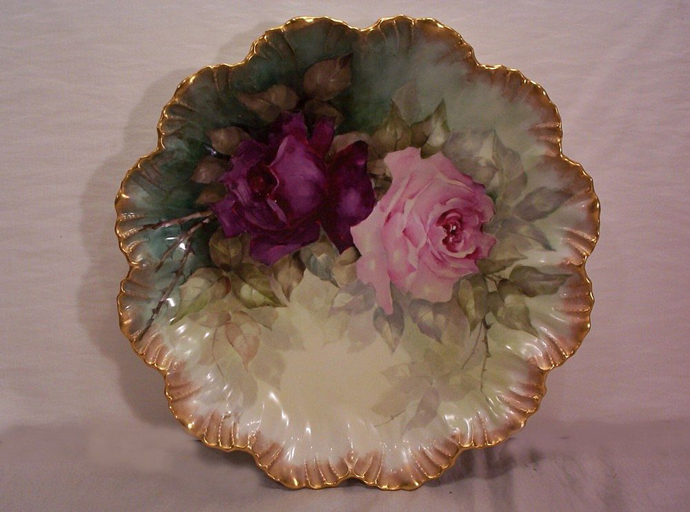 Vintage Limoges Charger Plaque with Hand Painted Roses