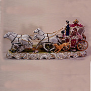 Vintage Dresden Porcelain Coach with 4 Horses, 2 Dogs, Lady and Driver