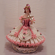 Vintage Dresden Porcelain Figurine Girl Playing Violin