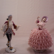 Vintage Dresden Porcelain Figurines Dancers Lady and Man