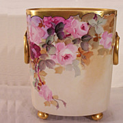Vintage Limoges Cache Pot Decorated with Hand Painted Roses