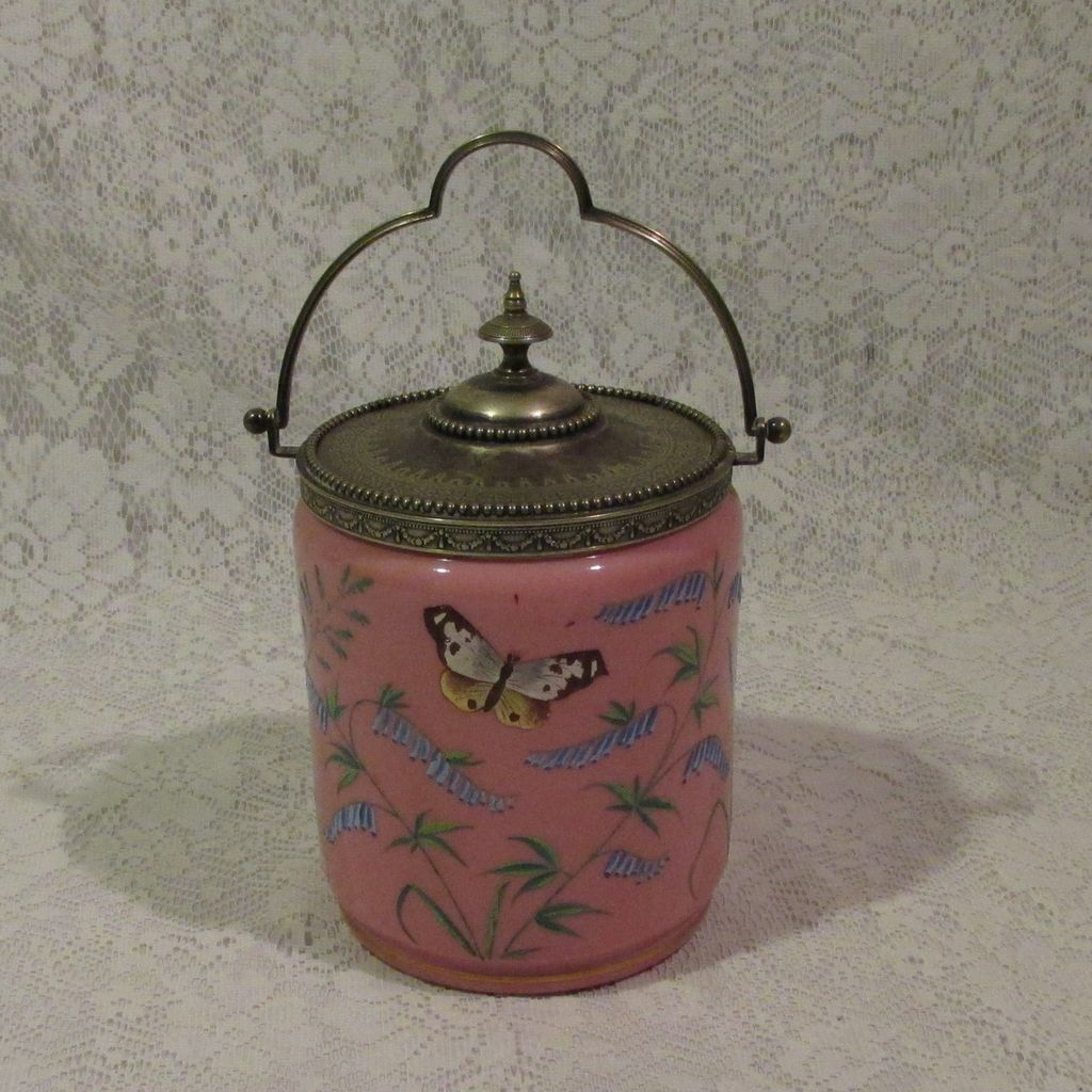 Vintage Webb Biscuit Jar Decorated with Hand Painted Butterfly