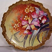 SALE Drop Dead Gorgeous Limoges Charger Hand Painted Orchids