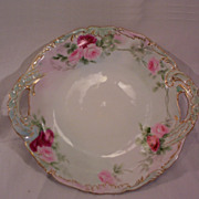Vintage T & V Limoges Cake Plate Decorated with Hand Painted Roses