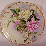 Fabulous Haviland Limoges Charger Plaque Decorated with Hand Painted Roses