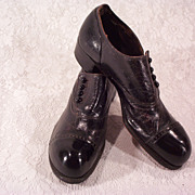 Early 1900s Men's Bulldog Toe Button Dress Shoes