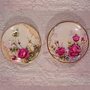 Vintage Pair T & V Limoges Plates Decorated with Hand Painted Roses