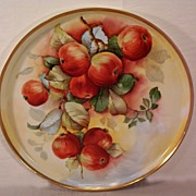 Vintage 1900 T&V Limoges Charger Tray Decorated with Hand Painted Apples