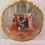 Vintage Limoges Plaque Hand Painted Chess Players