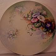 SALE JP Limoges Charger Plaque Serving Tray Hand Painted Morning Glories