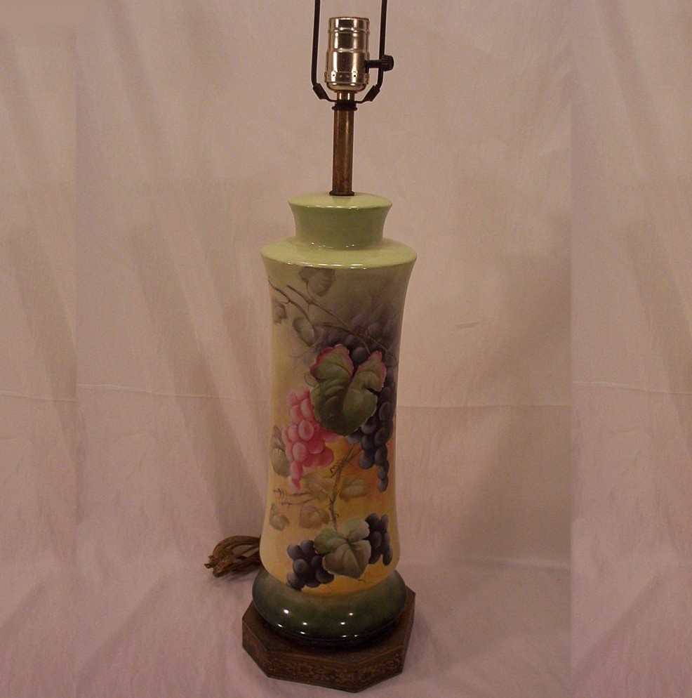 Vintage Fabulous Limoges Lamp Hand Painted Grapes