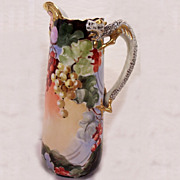 SALE JP Limoges Dragon Handle Tankard w/ Hand Painted Currants